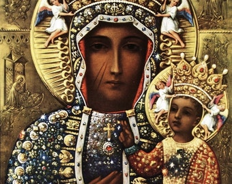 8x10 Catholic Art Print Picture of the Blessed Virgin Mary as Our Lady of Czestochowa - From Italy