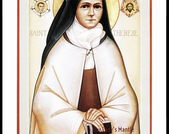"St. THERESE OF LISIEUX Icon Style Print Picture 8"" x 10"""