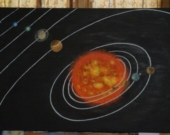 Solar system oil painting