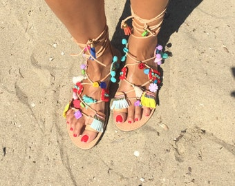 Greek sandals,  Leather craft, Handmade, Ancient greek sandals, Boho sandals, Gladiator sandals, Egst, Pom pom  sandals, Made in Greece