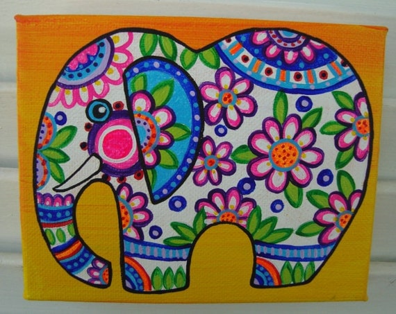 Elephant painting animal art colorful artwork home decor Colorful elephant home decor