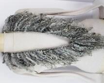 OOAK Knitted Lamb Lock Scarf, Alpaca, Teeswater Locks, Fun and Funky, Dramatic, Romantic