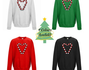 Candy Cane Heart | Christmas Holiday Jumper | Unisex Clothes | Sweatshirt