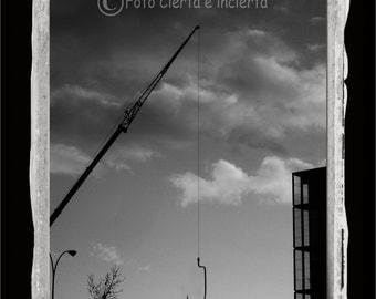 Fishing (Fine art photography, street art, hook, crane, sky, clouds, fisherman, architecture)