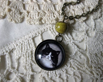Fluffy Black and White cat pendant necklace