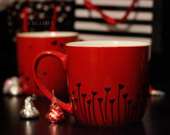 Red Hearts Mug Set of Two