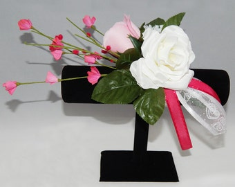 Pink Light Pink & White Rose Corsage
