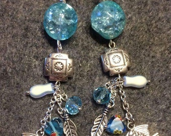 Native American fish and feather earrings