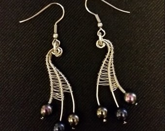 Handmade wire wrapped web earrings