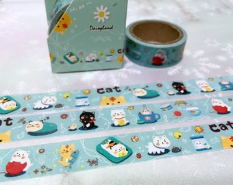 5M cute Cat washi tape super Cute cat meow meow funny cat masking tape summer cat cozy kitten sticker tape cut cat diary cat planner decor