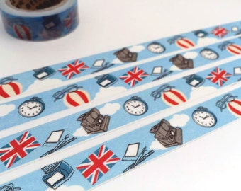 Travel planner washi tape 10M x 1.5cm United Kingdom Flag uk flag hot air balloon antique clock vintage camera retro glasses decor tape gift