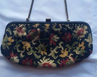 vintage tapestrypattern  clutch purse with leather trimand chain handle