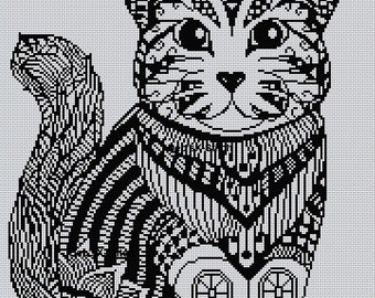 Blackwork Cat #4 Cross Stitch Chart