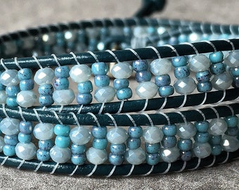 Elsa Wrap Bracelet, Beaded Bracelet, Leather Wrap Beaded Bracelet, Boho Chic Jewelry