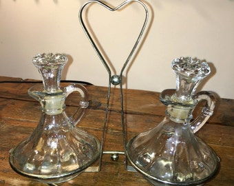 Vintage Decanter Glass Cruet Oil Vinegar Set