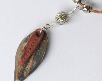 Polymer Clay necklace, Autumn, Pendant
