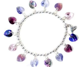 Lilac Candy Hearts Sterling Silver & SWAROVSKI crystal Charm Bracelet