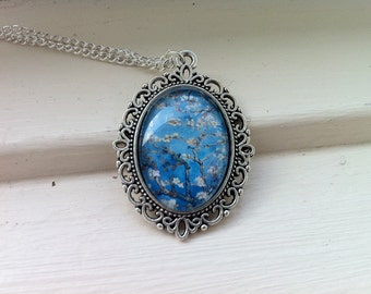Van Gogh Almond Blossom Glass Cabochon Necklace