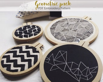 8 Geometric embroidery pack - Embroidery Hoop Art- Hoop Home Decor Geometric Wall Art-Easy PDF embroidery-Instant download DIY