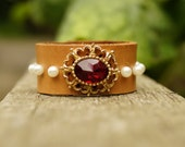 Half Price Sale! Upcycled Junior Leather Cuff Bracelet with Antique Red Coloured Stone Brooch and Faux Pearl Rivets