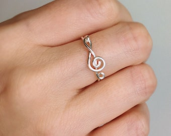 Silver Sideways Treble Clef Ring, Treble clef ring, Sterling silver ring, Music ring, Silver ring, Silver music ring, Wire ring