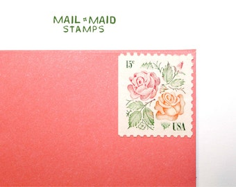 Medallion Roses || Set of 10 unused vintage postage stamps