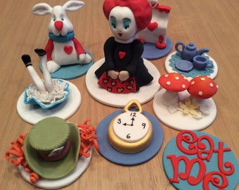 Edible icing Alice in Wonderland Cake Toppers