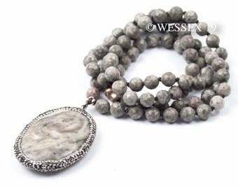 Grey Jasper Necklace | Pavé Gemstone Necklace | Long Grey Necklace | Grey Beaded Necklace | Natural Stone Necklace | Long Stone Necklace