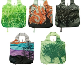 b.b.begonia Reusable Shopping Bags - Tree of Life Design - Set of 5 Assorted Grocery Bags