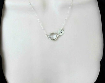 Crystal Quartz Necklace, Initial Necklace, Birthstone Necklace, Personalized Jewelry, April Birthstone, Gift for Her, Dainty Necklace,