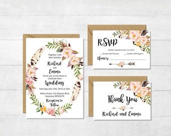 Floral Wreath Boho Wedding Invitation Suite, Printable Boho Wedding Invite, Floral Feathers Wedding Invite, Floral Wreath, Download, 112-W
