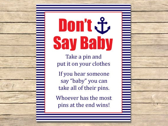 red nautical printable dont say baby game nautical