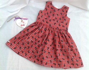 Girls Red Dress, Girls Clothing,  Toddler Dog Dress, Animal Dress, Party Outfit, occasion, red, black,