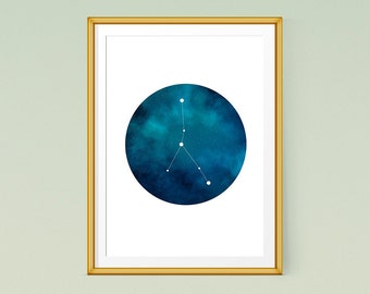 Cancer constellation art, Zodiac Printable Poster, Constellation print, Zodiac Constellation