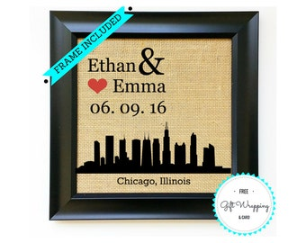 CHICAGO Personalized Wedding Gift Idea Anniversary Gift Ideas Engagement Gift for Couples Bridal Shower Illinois Burlap Print FRAME INCLUDED