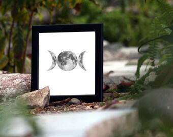 Triple Goddess Moon Printable Moon Phases Triple Moon Wiccan Pagan