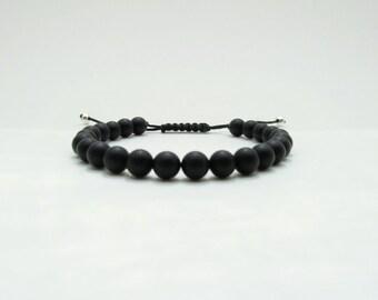 Frosted Onyx Bracelet - Man gemstones beads bracelet
