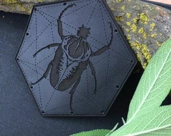Leather GOLIATH BEETLE Patch / Goliathus Regius / Strega / Woodland Fae / Goth /  Genuine Leather