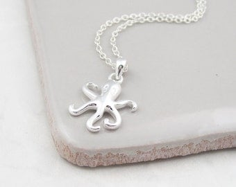 Silver octopus necklace, sterling silver, octopus jewelry, nautical jewelry, beach jewelry, octopus pendant, gift for her, everyday necklace