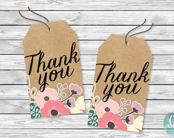 DIY Printable Tags -  Thank You Woodland Simple Floral Kraft Rustic Engagement Bridal Shower Birthday Baby Party Invitation Tags Wedding