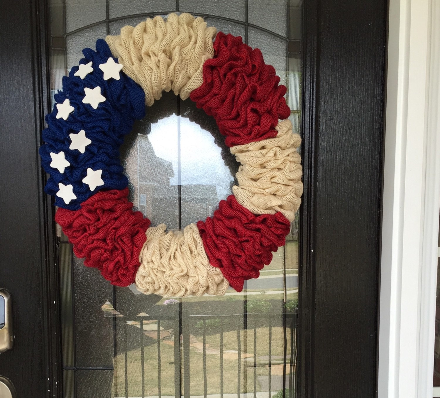 Burlap Wreath Red White And Blue Burlap American Flag