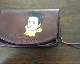 RARE 70s clutch with strap hippies style / Boho style / brown leather like