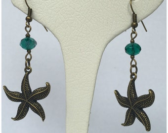 Bronze earrings with starfish, sea and summer theme Earrings, starfish earrings, bridesmaid gift, gift