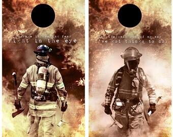 Firefighter cornhole board wrap