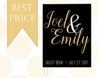 Custom Wedding Guest Book, Personalized Wedding Guestbook, Black & Gold Wedding Book Journal, Wedding Gift Keepsake, Modern Calligraphy #7