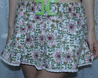 90s Pleated Floral Mini Skirt With Belt