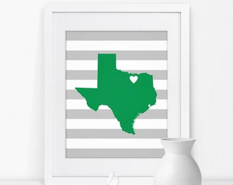 Denton Texas State Map Art Print Texas Sign Texas State Grad Gift for Grad Map of Texas Map Texas Art Texas State Print