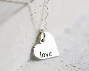 Love Necklace - Heart Necklace - Sterling Silver Heart Word Charm - Side Hanging Heart Charm - Love Word Necklace - Love Jewelry Bridal gift