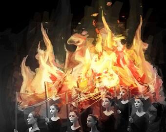 Orange and Black Flames - Dancers Wall Art