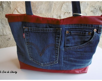 recycled jean, faux leather and linen handbag
